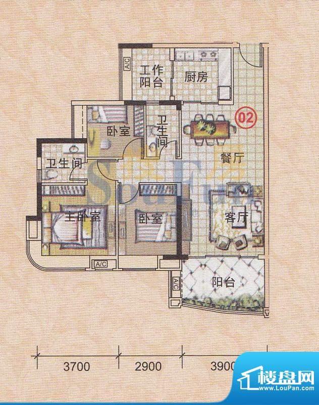 美林轩逸时光A7号楼面积:95.83平米