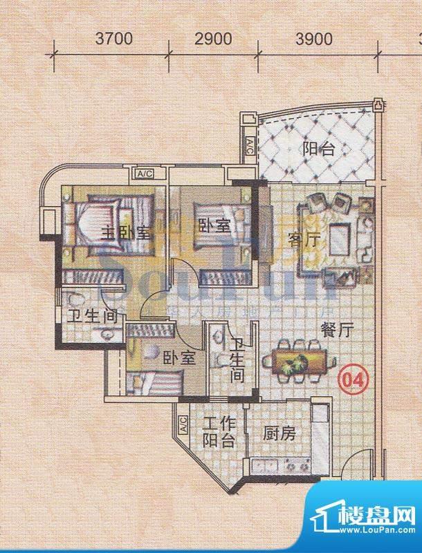 美林轩逸时光A5号楼面积:95.64平米