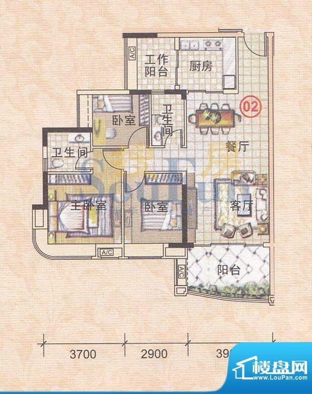 美林轩逸时光A5号楼面积:95.83平米