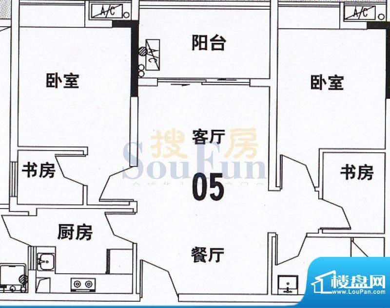 穗和城B座05单元 2室面积:89.70平米