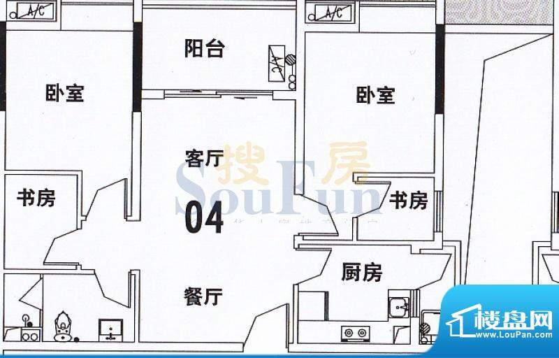 穗和城B座04单元 2室面积:89.70平米