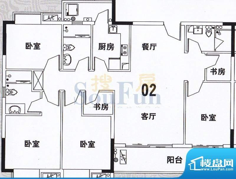 穗和城B座02单元 4室面积:149.83平米