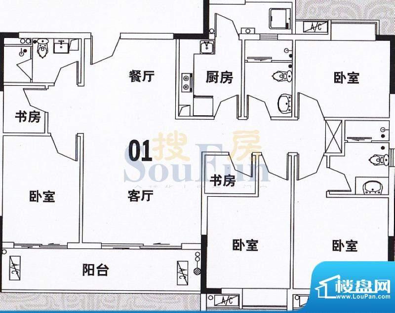 穗和城B座01单元 4室面积:149.65平米