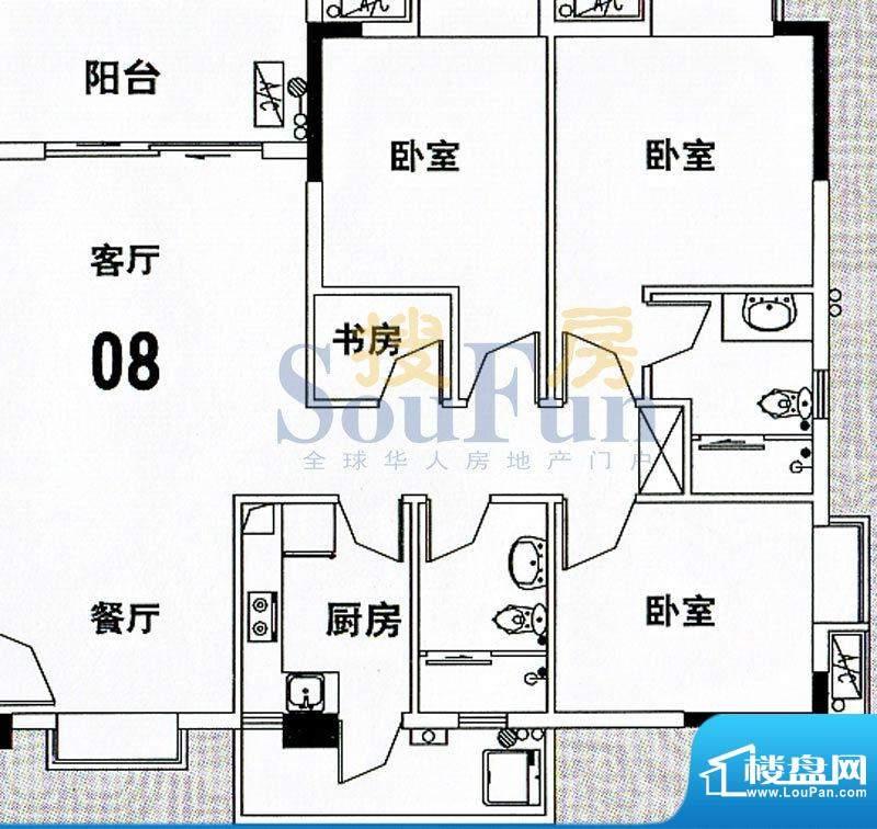穗和城C栋08单元 4室面积:121.83平米