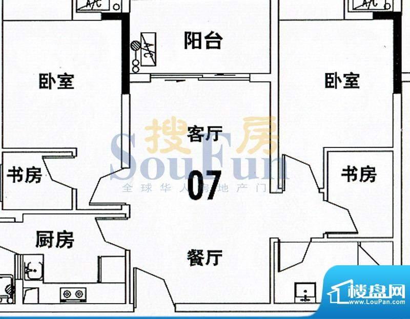穗和城C栋07单元 4室面积:89.74平米