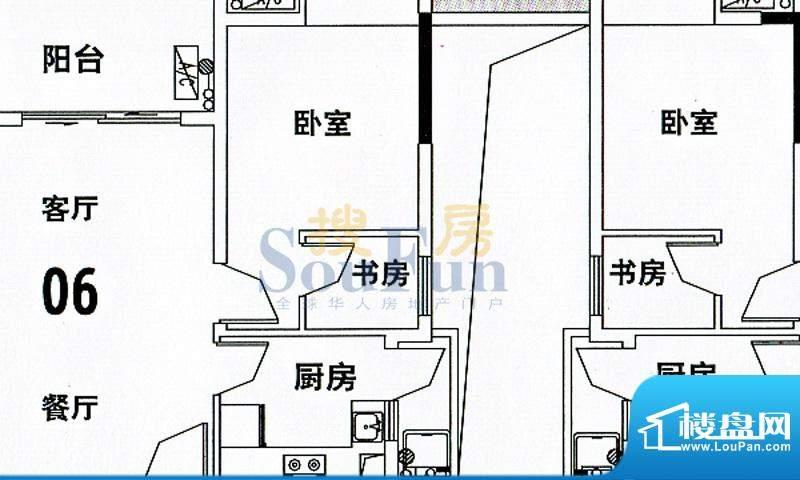穗和城C栋06单元 4室面积:89.74平米