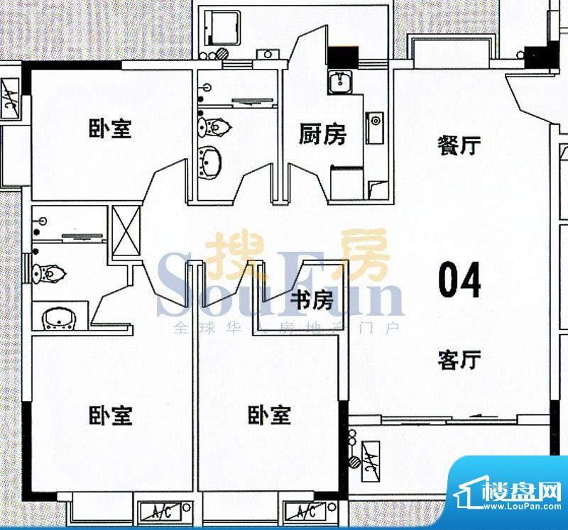 穗和城C栋04单元 4室面积:121.83平米