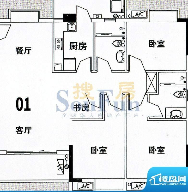 穗和城C栋01单元 4室面积:121.83平米
