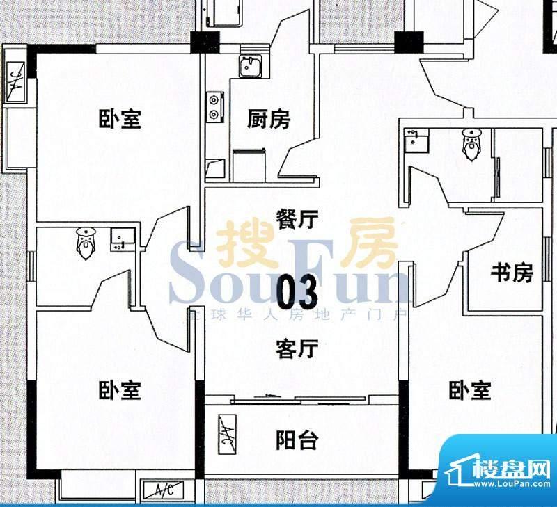 穗和城A栋03单元 4室面积:116.38平米