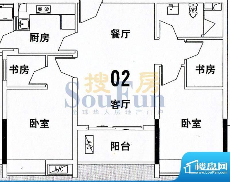 穗和城A栋02单元 4室面积:89.74平米