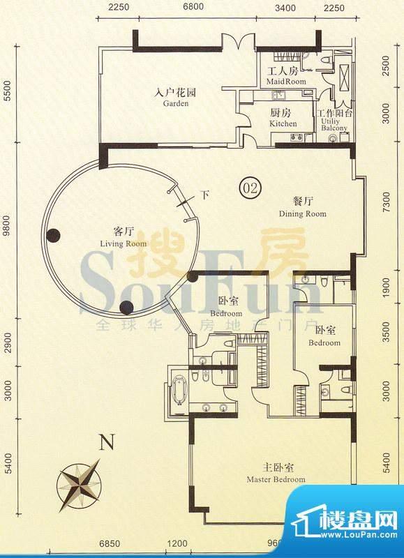 博雅首府B栋12-22层面积:0.00平米