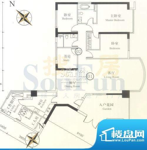 博雅首府B栋7-28层0面积:197.95平米