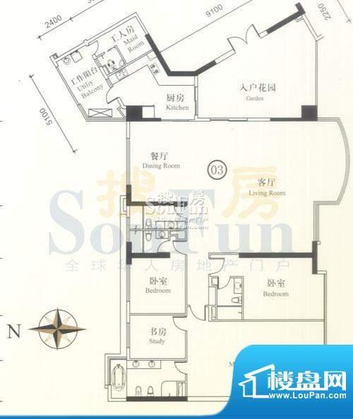 博雅首府B栋12-28层面积:337.51平米