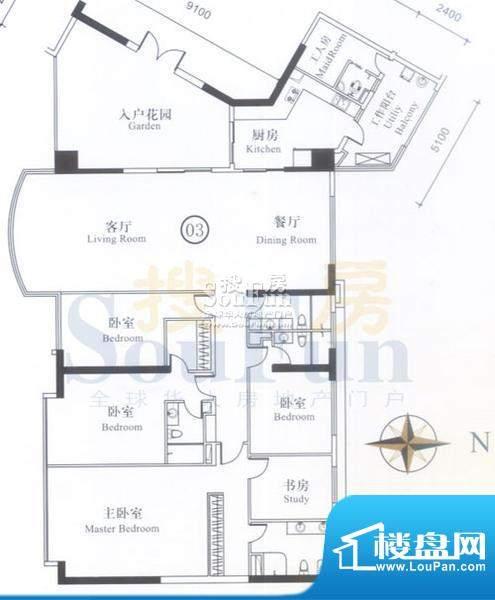 博雅首府A7栋7-11层面积:337.70平米