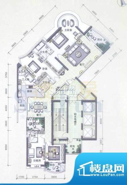 华标品峰A2、C2户型面积:297.55平米