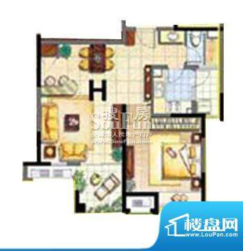 保利家园H户型 1室1面积:83.00平米