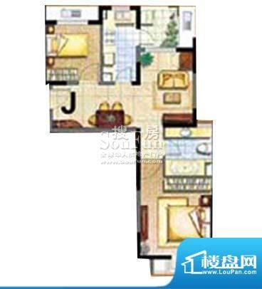保利家园J户型 2室1面积:78.00平米