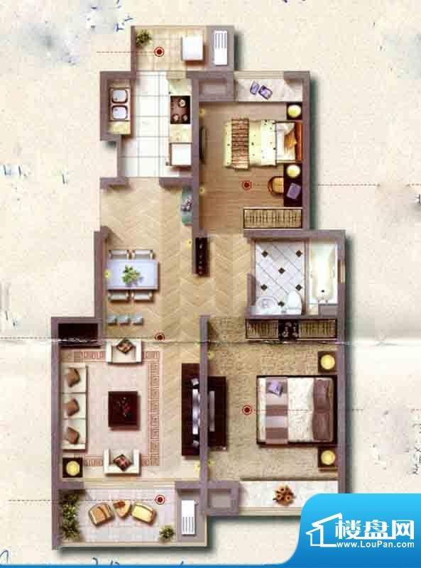 保利家园C户型图 2室面积:88.00平米