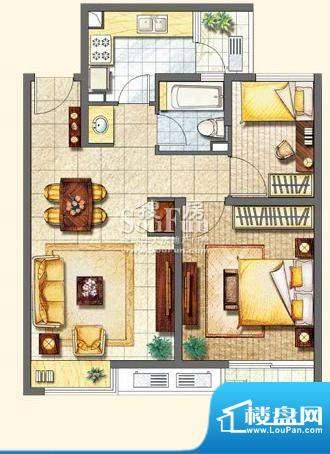 保利家园L户型 2室2面积:85.00平米