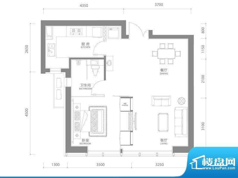 百年港湾1号楼B5户型面积:68.00平米