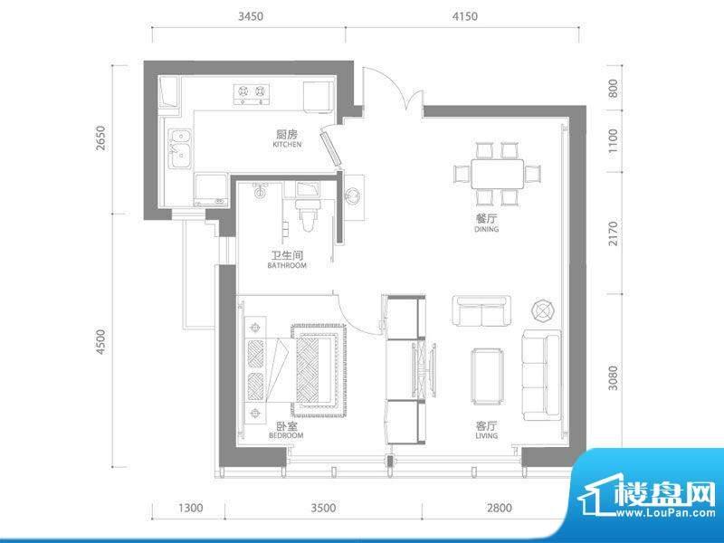 百年港湾1号楼B3户型面积:63.00平米