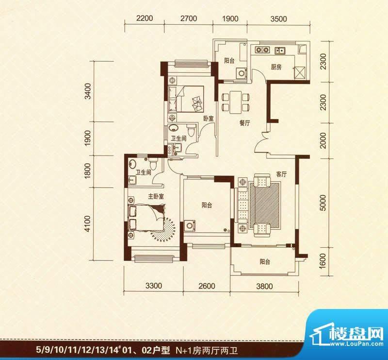 景湖荣郡5#、9#-14#面积:101.00平米