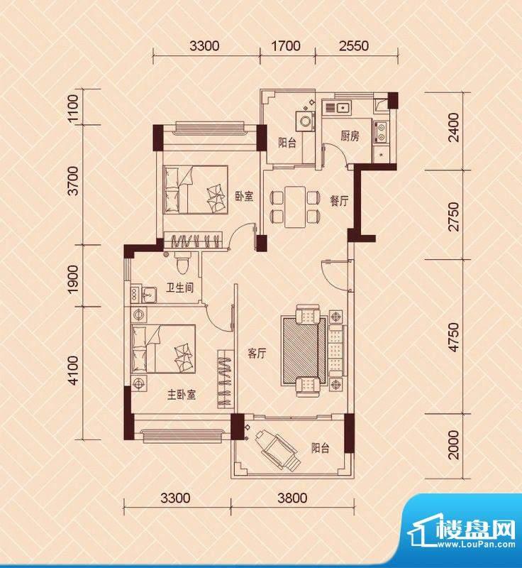 景湖荣郡1、3-4栋标面积:79.00平米