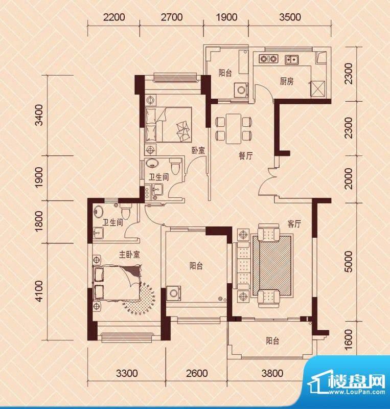 景湖荣郡5、9-14栋标面积:101.00平米