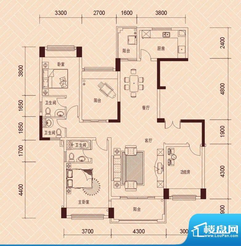 景湖荣郡7-8栋标准层面积:135.00平米
