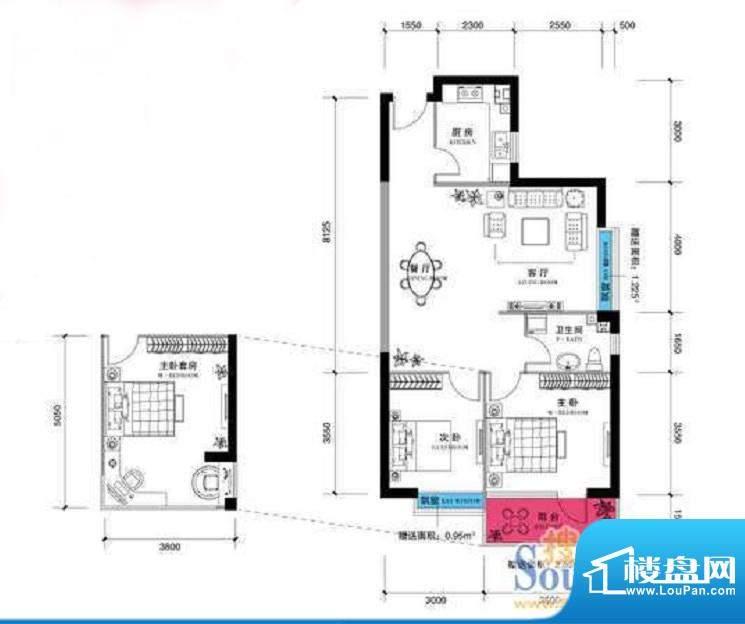 上谷郡A户型图 2室2面积:106.85平米