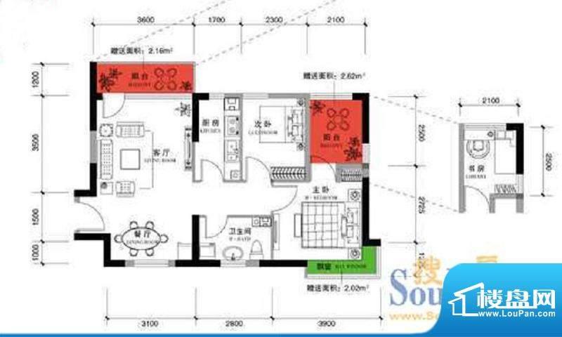 上谷郡B户型图 2室2面积:85.43平米