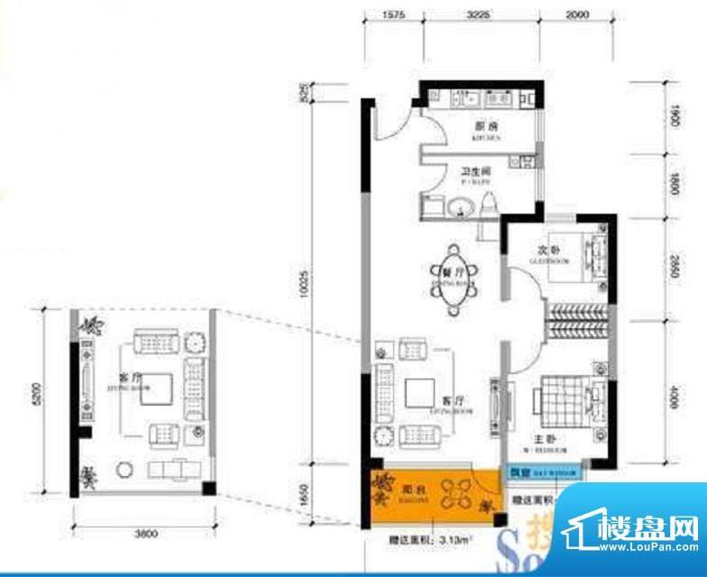 上谷郡C户型图 2室2面积:94.97平米