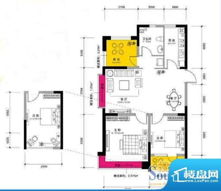 上谷郡D户型图 2室2面积:102.79平米
