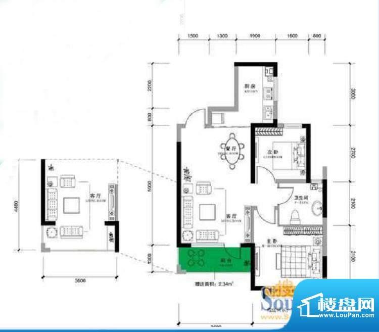 上谷郡E户型图 2室2面积:84.65平米
