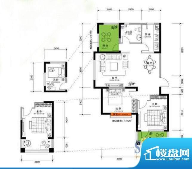 上谷郡F户型图 2室2面积:119.09平米