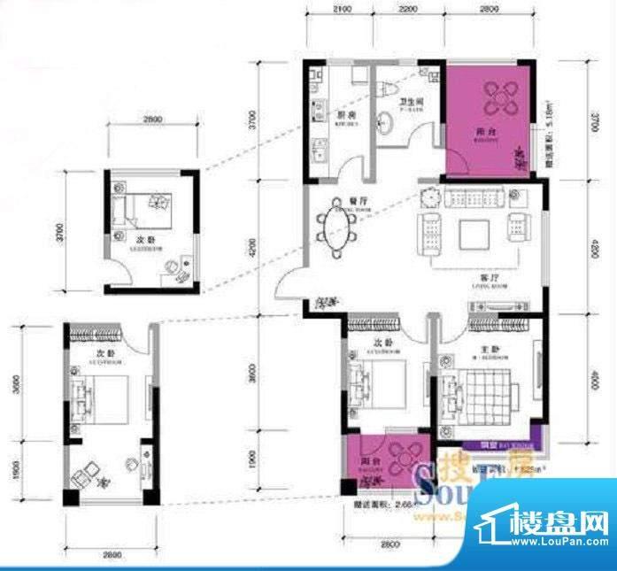 上谷郡H户型图 2室2面积:124.55平米