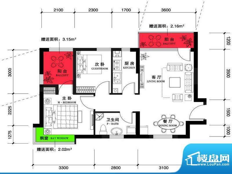 上谷郡B户型图两室两面积:85.20平米