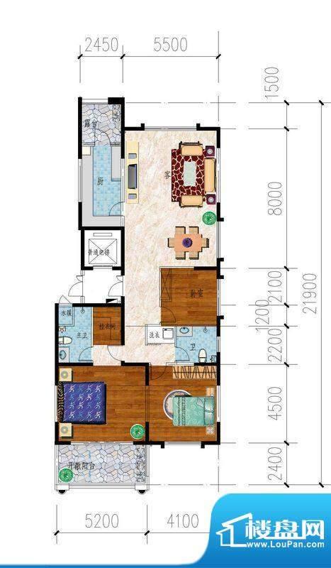东山名郡A户型图 3室面积:180.00平米