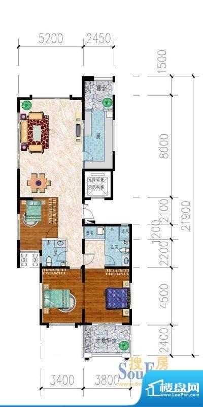 东山名郡B户型图 3室面积:160.00平米