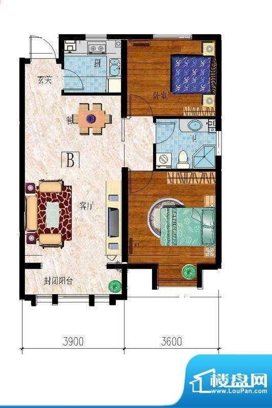 东山名郡D户型图 2室面积:80.00平米