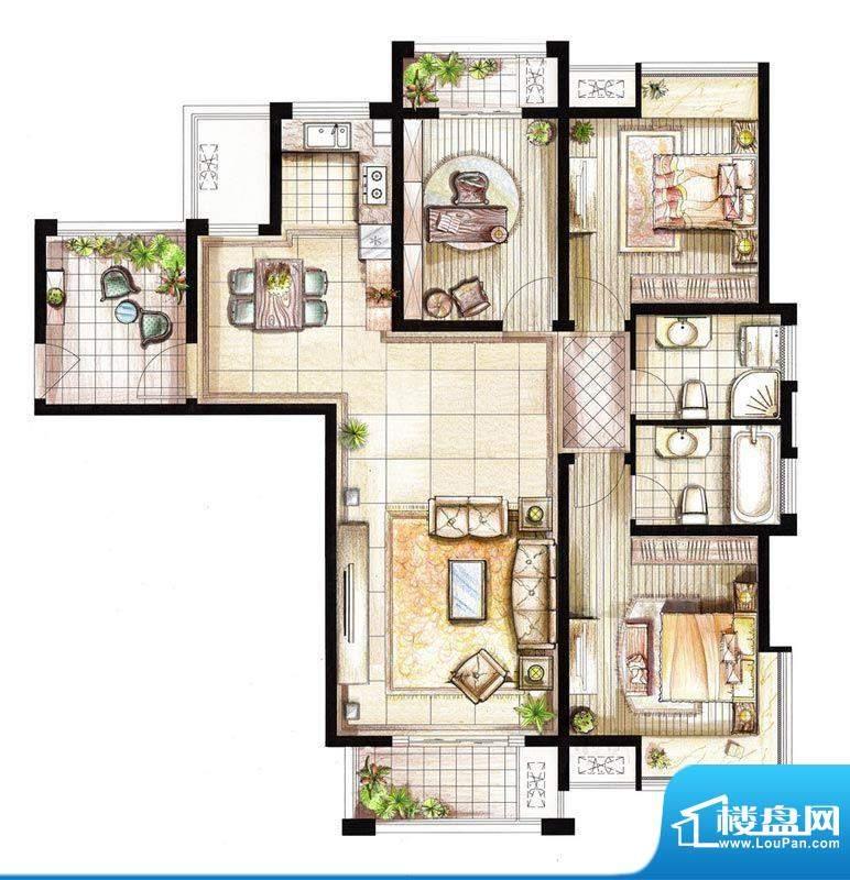 红鼎湾花园9号楼01室面积:132.00平米