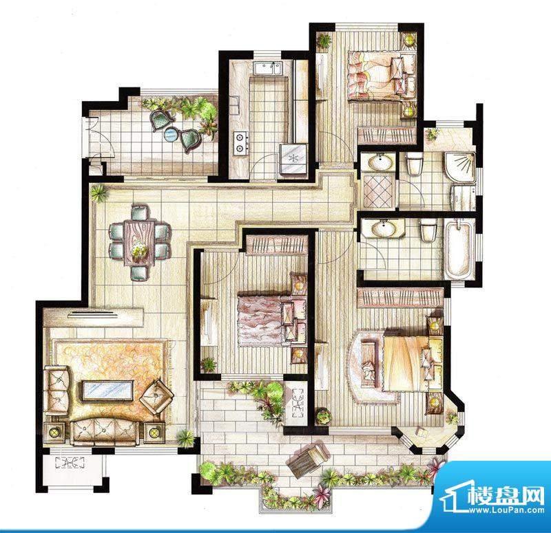 红鼎湾花园2-5号楼多面积:125.00平米