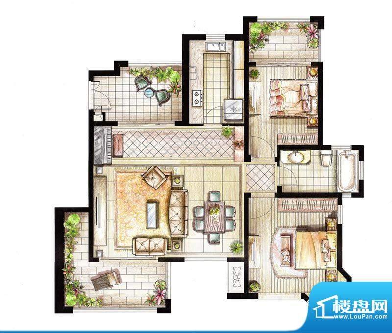 红鼎湾花园2-5号楼多面积:100.00平米
