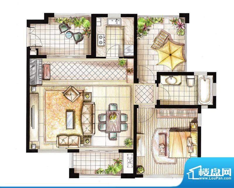 红鼎湾花园2-5号楼多面积:79.00平米