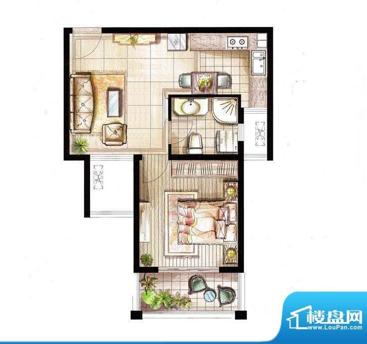 红鼎湾花园9号楼02室面积:55.00平米
