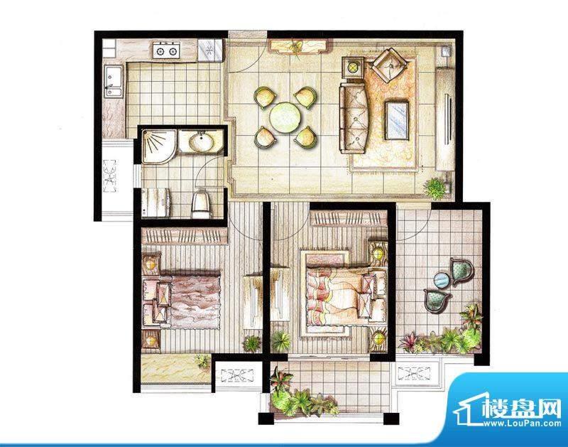 红鼎湾花园9号楼03室面积:85.00平米