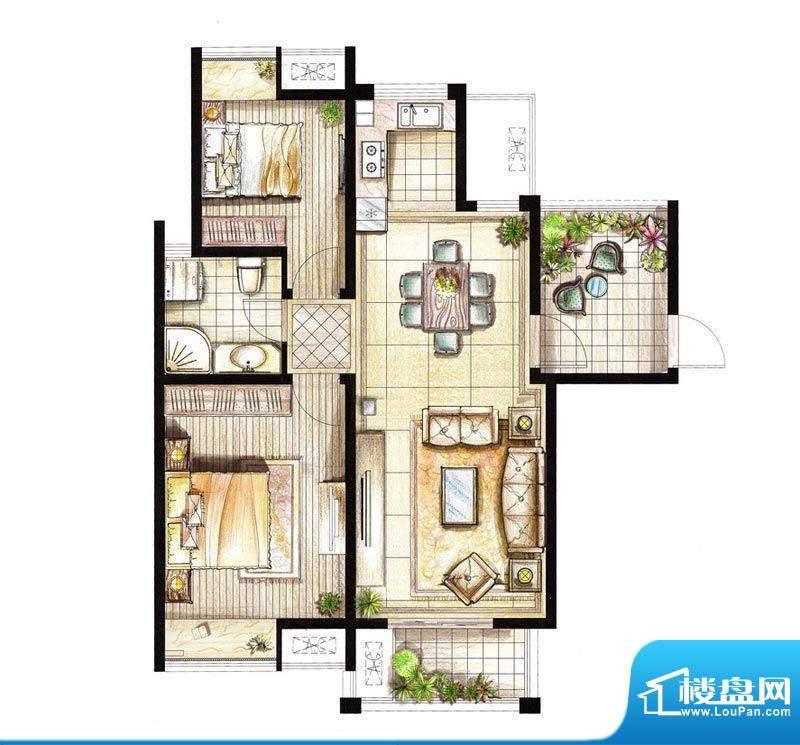 红鼎湾花园9号楼04室面积:89.00平米