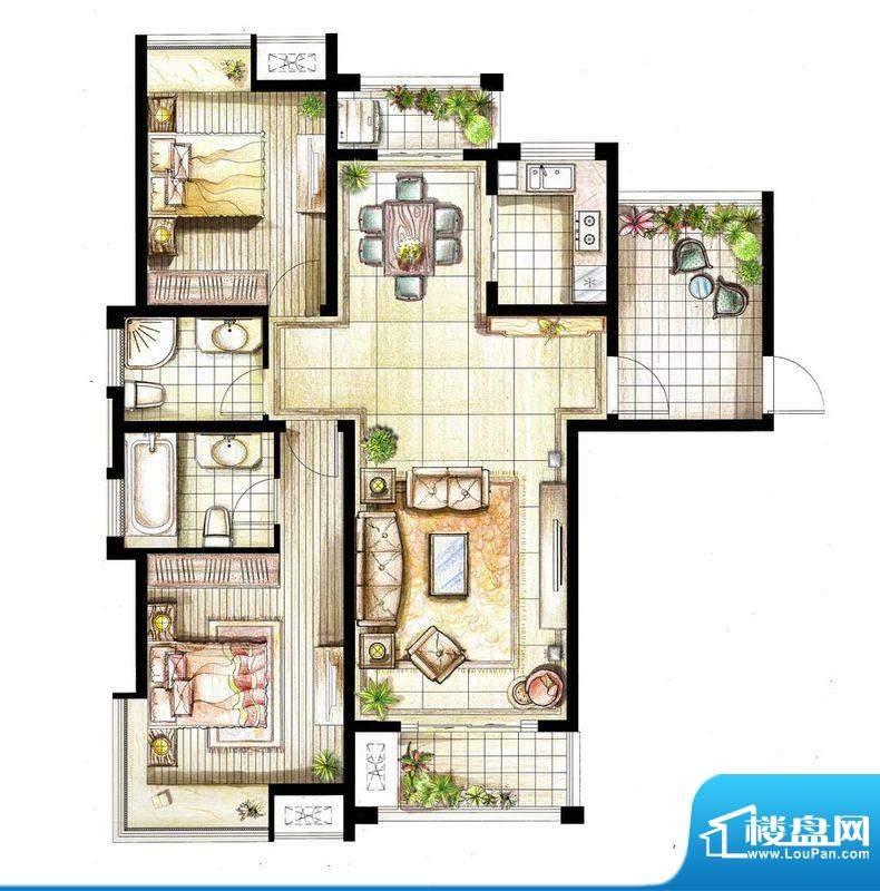 红鼎湾花园8号楼03室面积:120.00平米