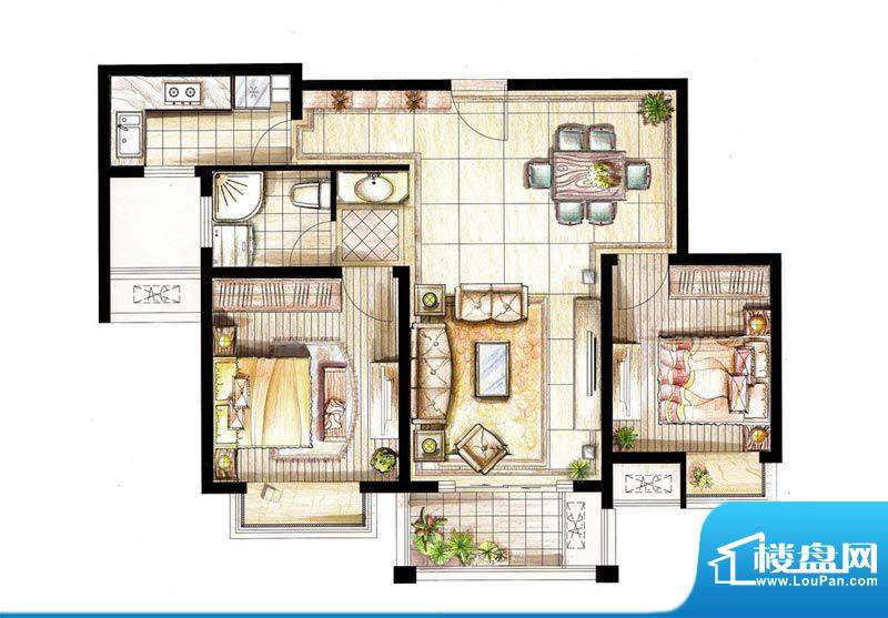 红鼎湾花园8号楼02室面积:89.00平米