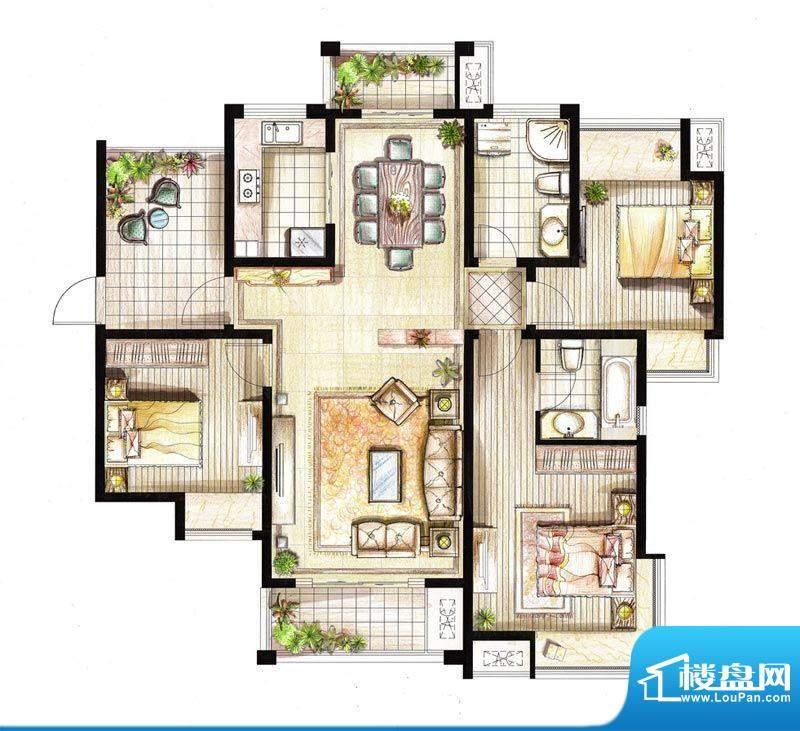红鼎湾花园8号楼01室面积:135.00平米